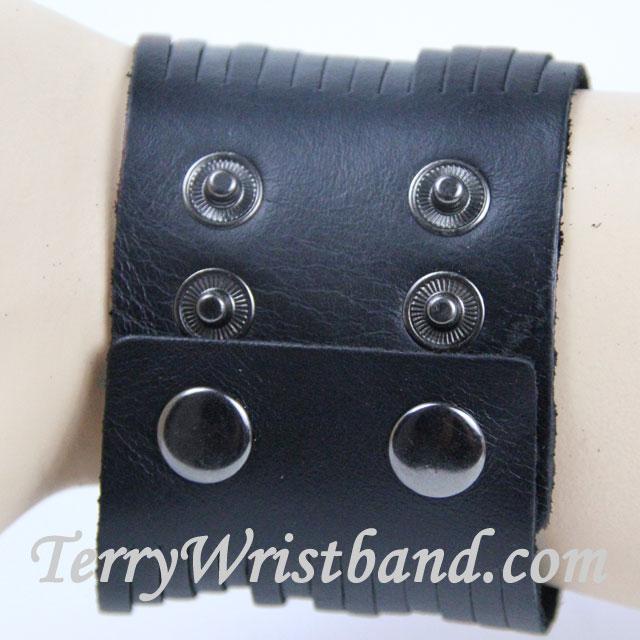 Black Leather Bracelet for Men BACK