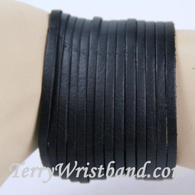 Black Leather Bracelet for Men front