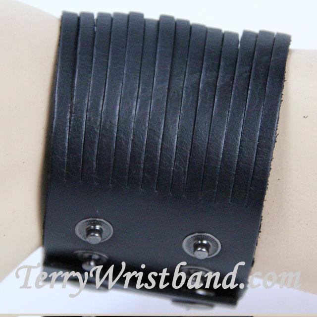 Black Leather Bracelet for Men SIDE