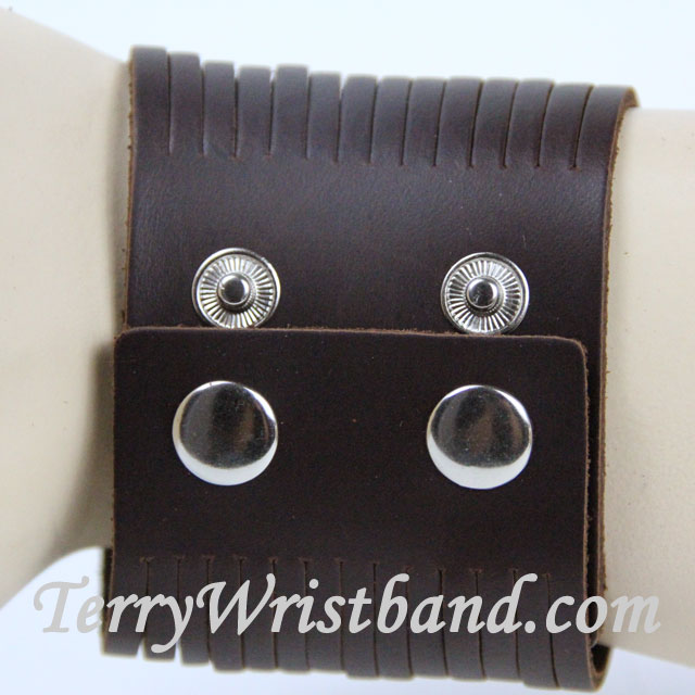 Brown Leather Bracelet for Men BACK