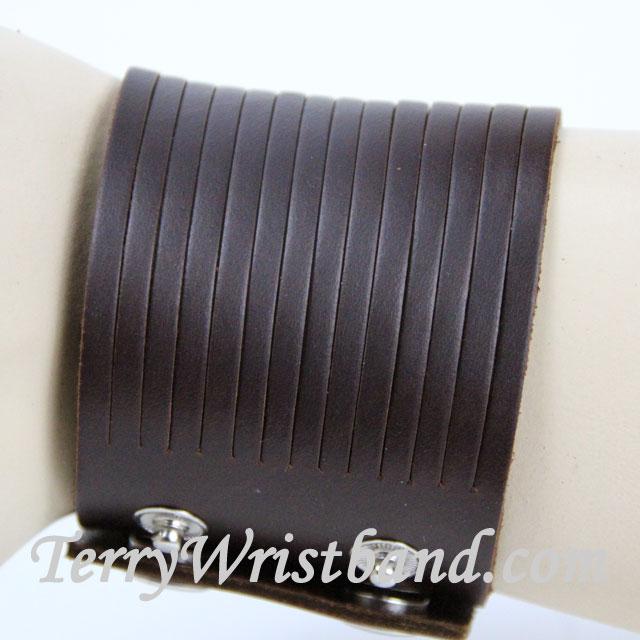 Brown Leather Bracelet for Men SIDE