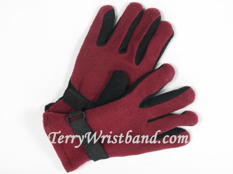 winter fllece gloves with adjustable strap