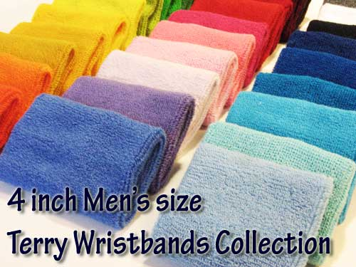 4inch mens size terry wristbands