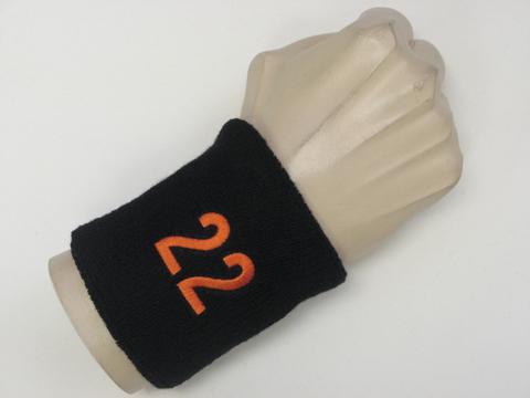 Black wristband sweatband with number 22 from terrywristband.com/sweatband/  terry-cloth wristbands sweatbands online website : Terry sweat wristbands,  ...