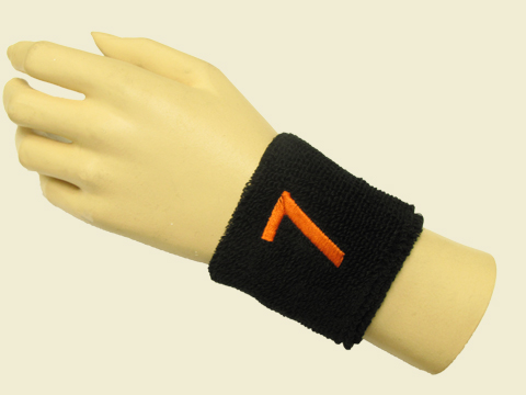 Black youth wristband sweatband with number 7 Seven