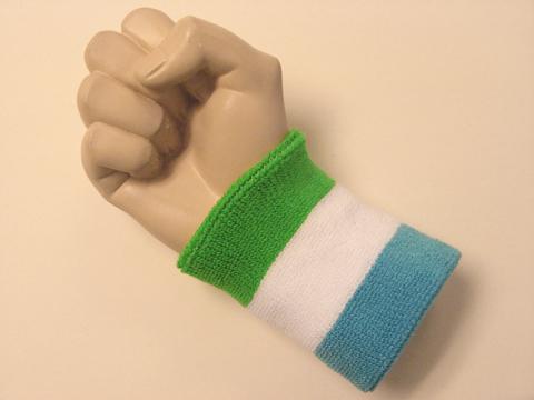 Reviews Bright Green White Sky Blue Wristband Sweatband From Terrywristband Terry Wristbands Online Website Sweat