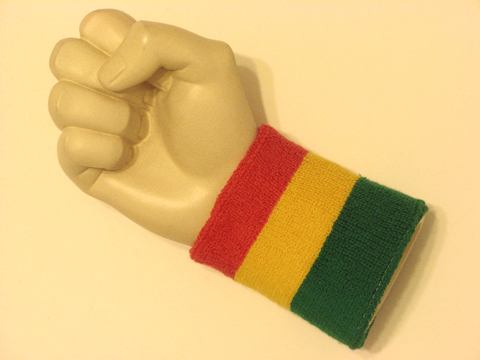 Red yellow green rasta 3color wristband sweatband from ... 10fd1bf9dac